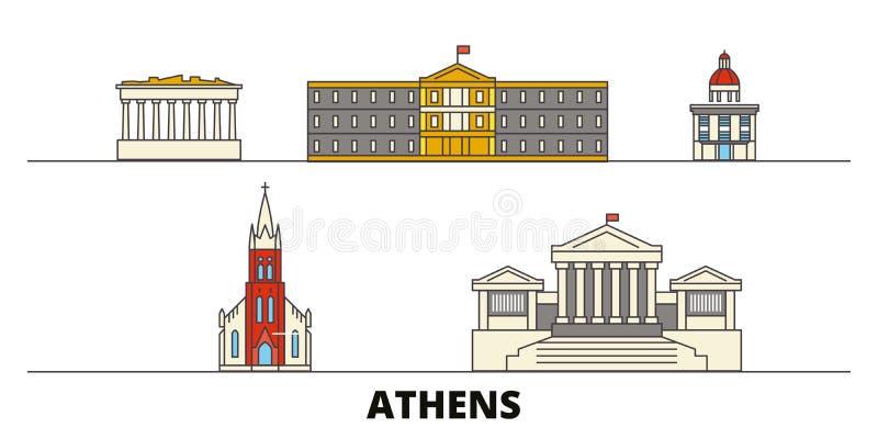 Vlakke de oriëntatiepunten vectorillustratie van Griekenland, Athene De lijnstad van Griekenland, Athene met beroemde reisgezicht vector illustratie