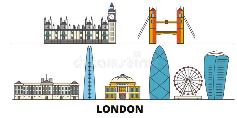 Vlakke de oriëntatiepunten vectorillustratie van het Verenigd Koninkrijk, Londen De lijnstad van het Verenigd Koninkrijk, Londen  royalty-vrije illustratie