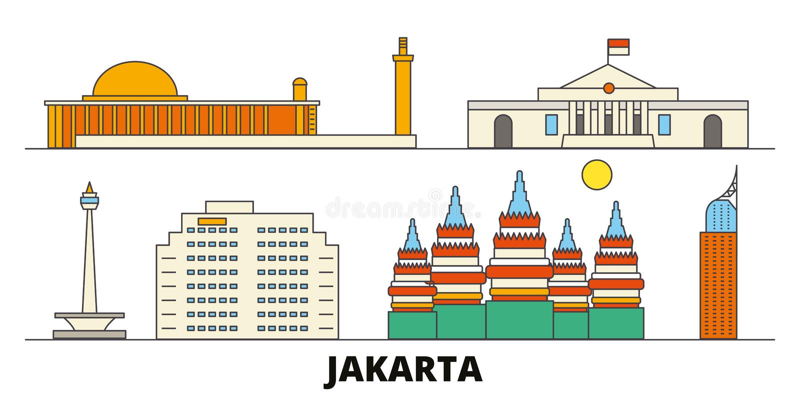 Vlakke de oriëntatiepunten vectorillustratie van Indonesië, Djakarta De lijnstad van Indonesië, Djakarta met beroemde reisgezicht stock illustratie