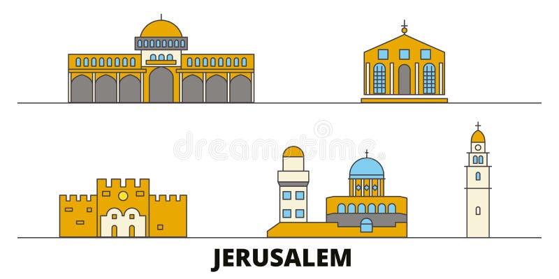 Vlakke de oriëntatiepunten vectorillustratie van Israël, Jeruzalem De lijnstad van Israël, Jeruzalem met beroemde reisgezichten,  vector illustratie