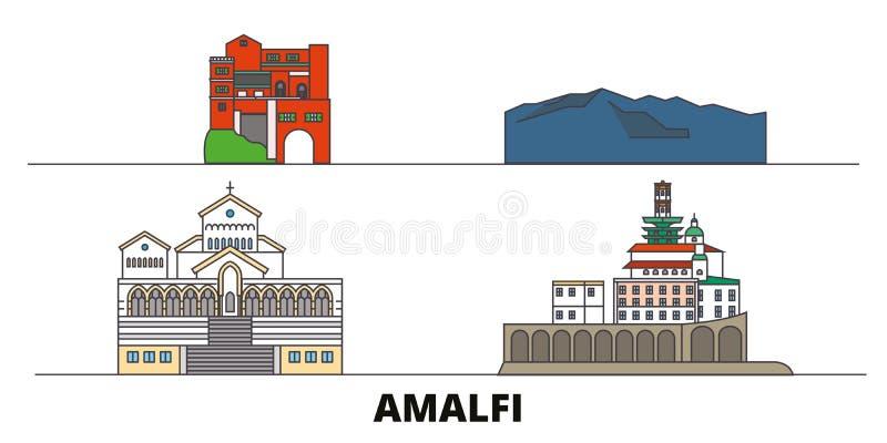 Vlakke de oriëntatiepunten vectorillustratie van Italië, Amalfi De lijnstad van Italië, Amalfi met beroemde reisgezichten, horizo vector illustratie
