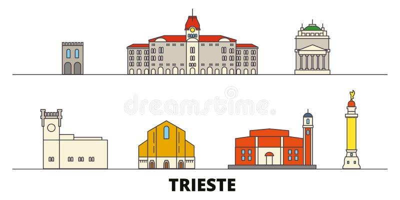 Vlakke de oriëntatiepunten vectorillustratie van Italië, Triëst De lijnstad van Italië, Triëst met beroemde reisgezichten, horizo stock illustratie