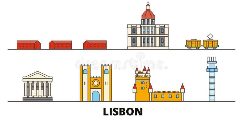 Vlakke de oriëntatiepunten vectorillustratie van Portugal, Lissabon De lijnstad van Portugal, Lissabon met beroemde reisgezichten royalty-vrije illustratie