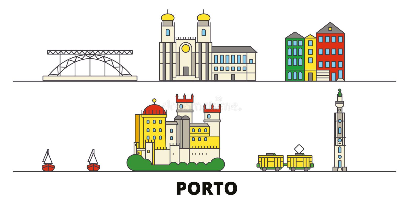 Vlakke de oriëntatiepunten vectorillustratie van Portugal, Porto De lijnstad van Portugal, Porto met beroemde reisgezichten, hori royalty-vrije illustratie
