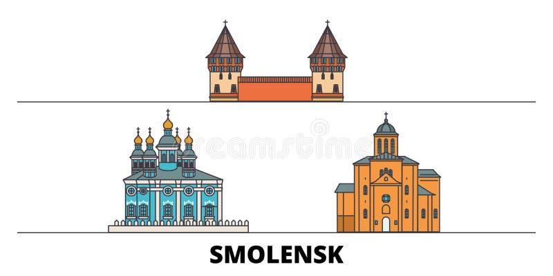Vlakke de oriëntatiepunten vectorillustratie van Rusland, Smolensk De lijnstad van Rusland, Smolensk met beroemde reisgezichten,  vector illustratie