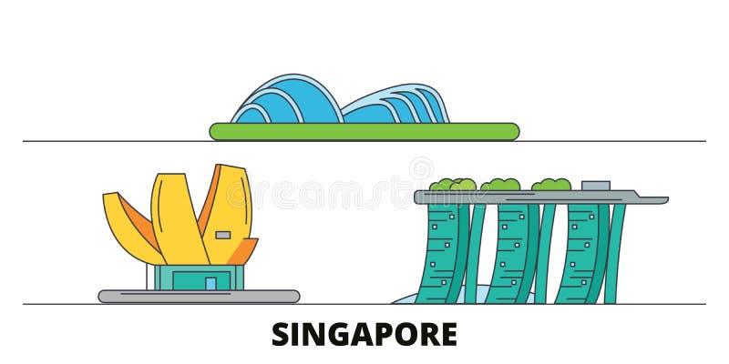 Vlakke de oriëntatiepunten vectorillustratie van Singapore De lijnstad van Singapore met beroemde reisgezichten, horizon, ontwerp stock illustratie