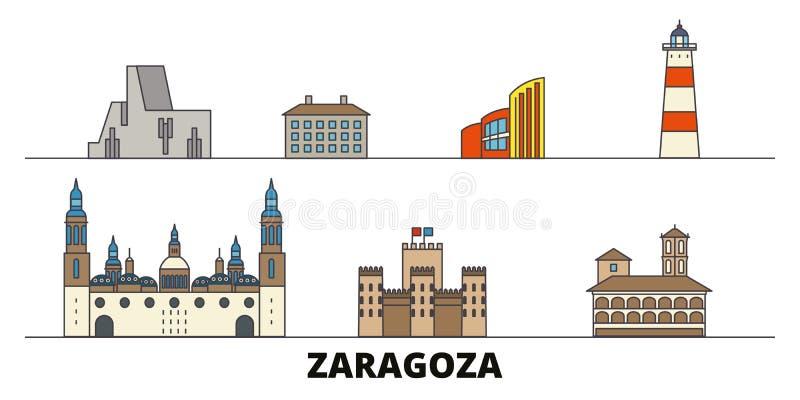 Vlakke de oriëntatiepunten vectorillustratie van Spanje, Zaragoza De lijnstad van Spanje, Zaragoza met beroemde reisgezichten, ho royalty-vrije illustratie