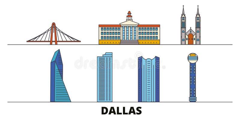 Vlakke de oriëntatiepunten vectorillustratie van Verenigde Staten, Dallas De lijnstad van Verenigde Staten, Dallas met beroemde r vector illustratie