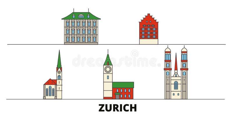 Vlakke de oriëntatiepunten vectorillustratie van Zwitserland, Zürich De lijnstad van Zwitserland, Zürich met beroemde reisgezicht stock illustratie