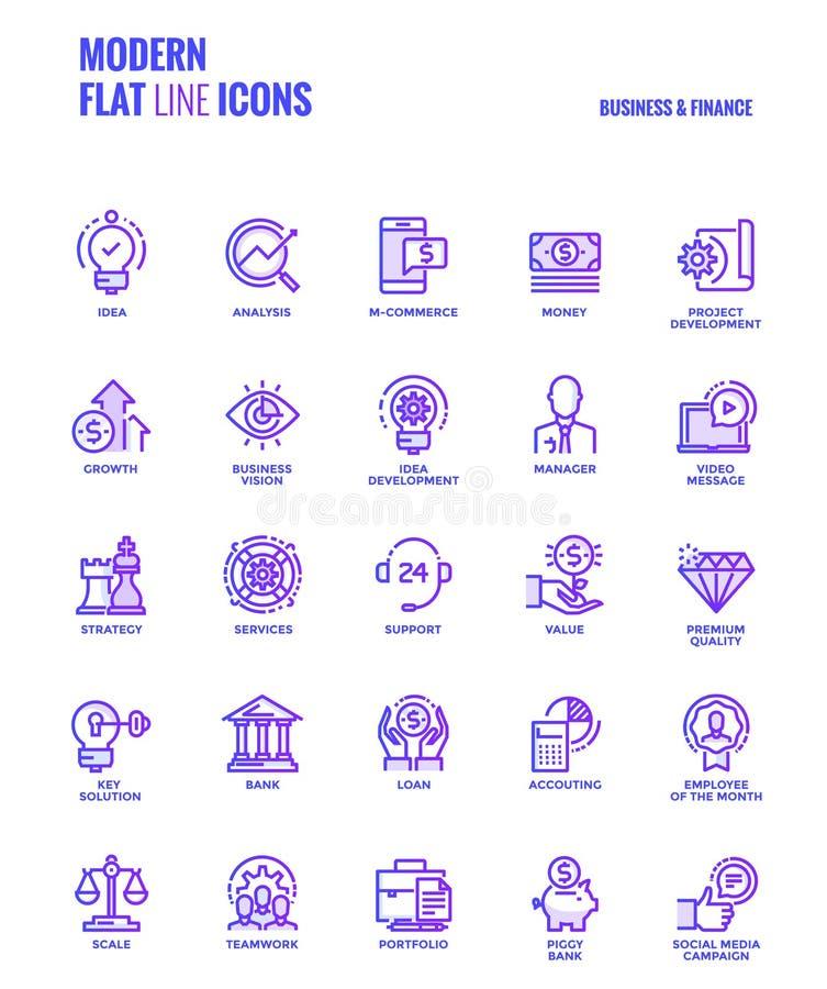 Vlakke de pictogrammen ontwerp-zaken en Financiën van de lijngradiënt royalty-vrije illustratie