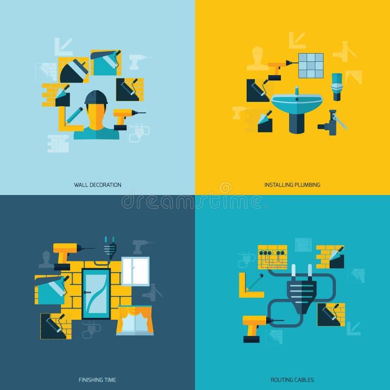 Vlakke de Pictogrammen van de huisreparatie vector illustratie