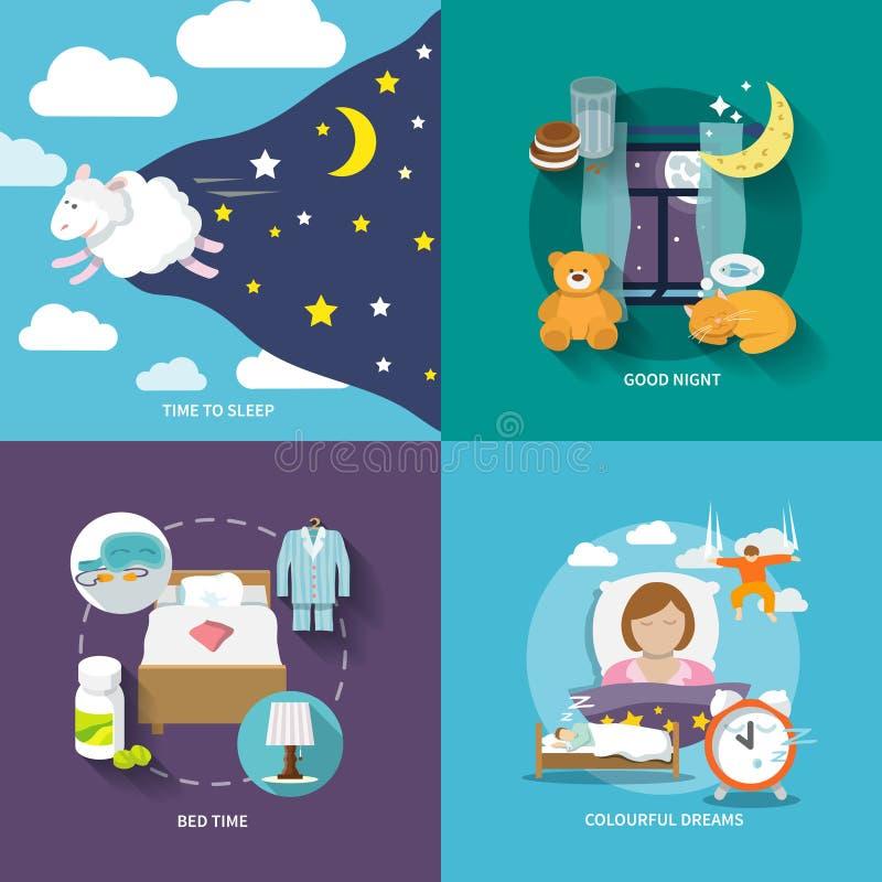 Vlakke de pictogrammen van de slaaptijd royalty-vrije illustratie