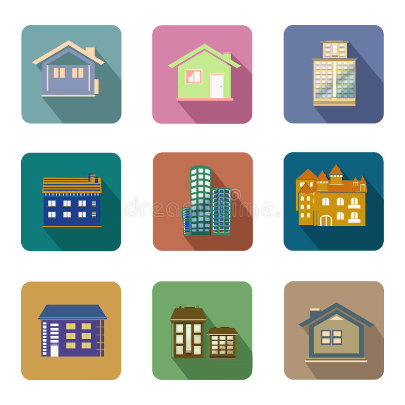 Vlakke de pictogrammen vectorreeks van stijlgebouwen royalty-vrije illustratie