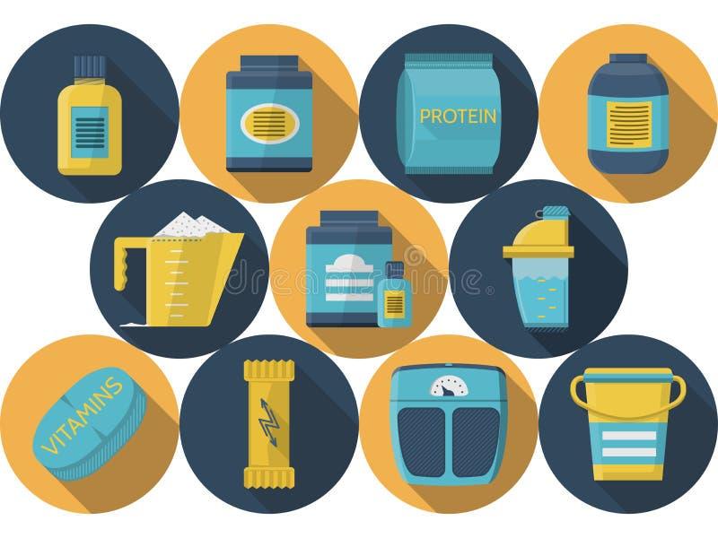 Vlakke de pictogrammeninzameling van de sportenvoeding vector illustratie