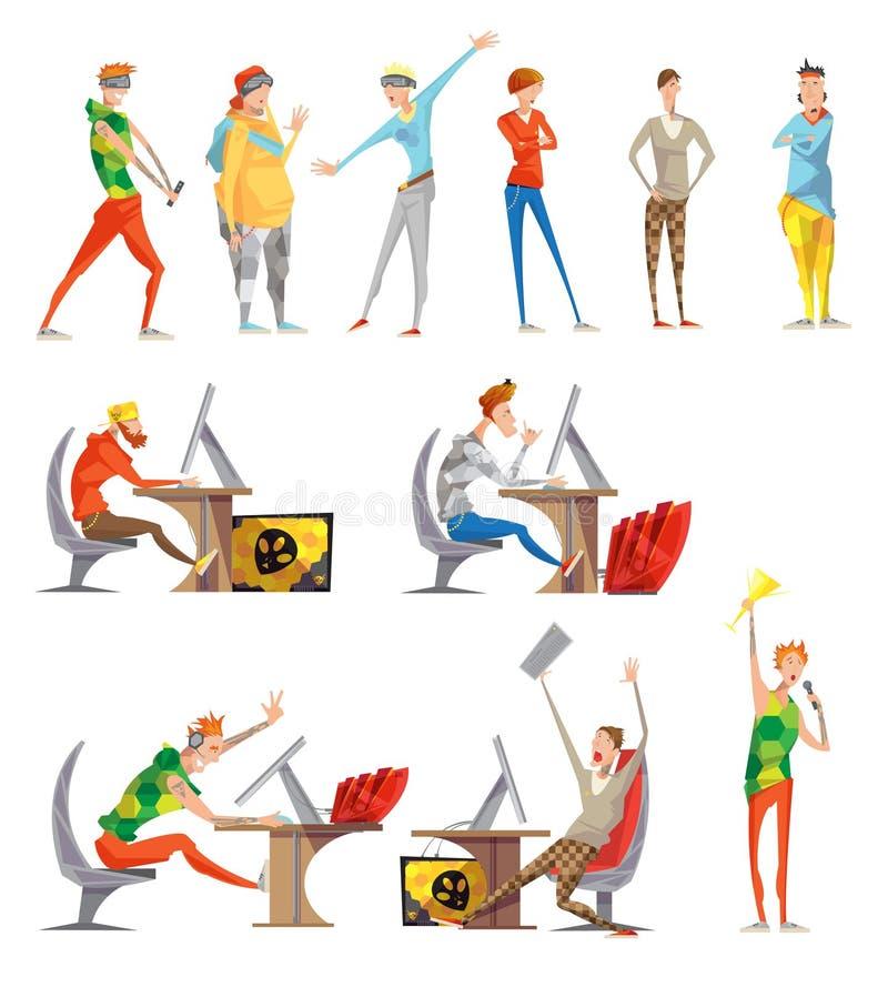 Vlakke de pictogrammeninzameling van Esports elektronische sporten royalty-vrije illustratie