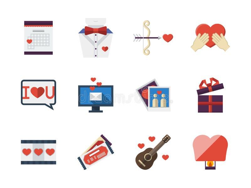 Vlakke de pictogrammeninzameling van liefdeverhoudingen royalty-vrije illustratie