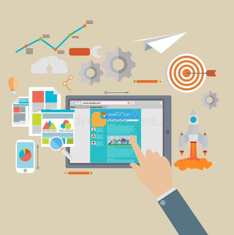Vlakke de pictogrammenreeks van de ontwerp moderne vectorillustratie van website SEO vector illustratie