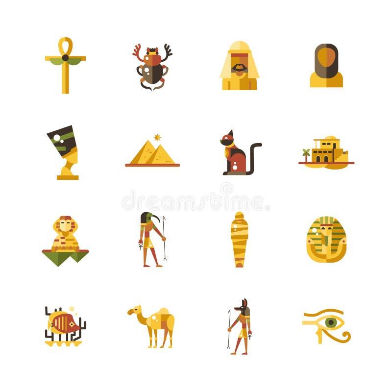 Vlakke de reispictogrammen van ontwerpegypte, infographicselementen met Egyptische symbolen