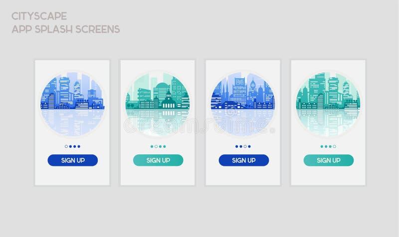 Vlakke de schermenmodellen van de ontwerp ontvankelijke UI mobiele app plons vector illustratie