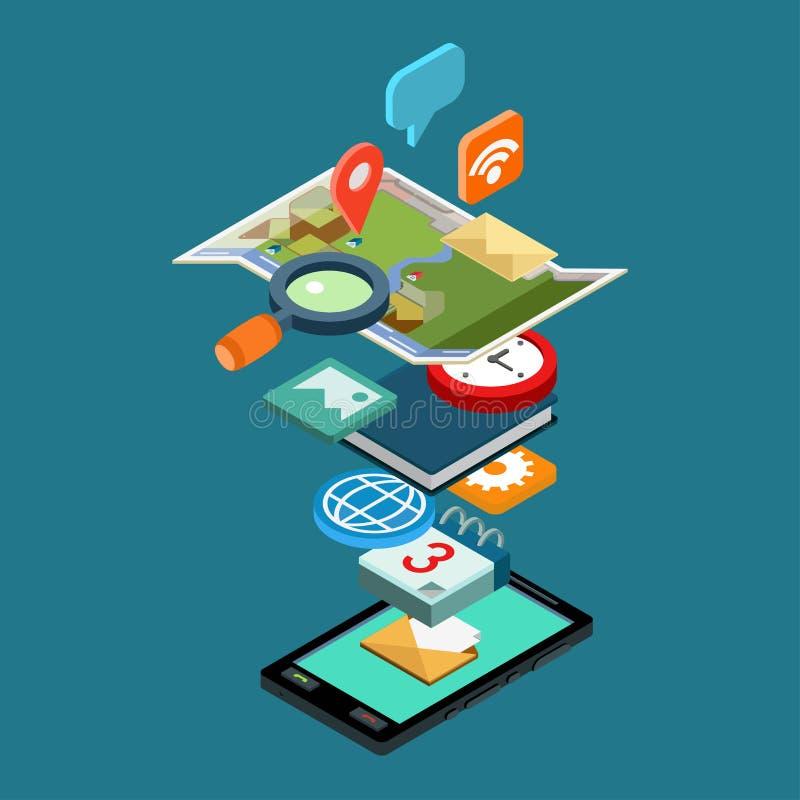 Vlakke de telefoon sociale media van het stijl 3d isometrische concept apps pictogrammen royalty-vrije illustratie