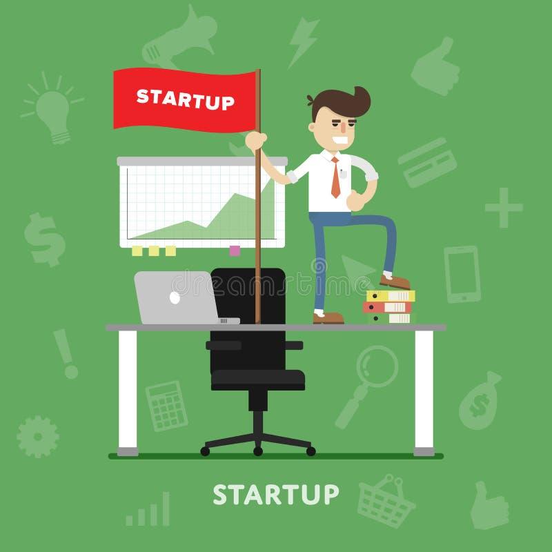 Vlakke de vector start van het bedrijfsprojectproces vector illustratie