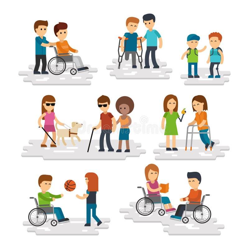Vlakke de vector van de onbekwaamheidspersoon Jonge gehandicapten en vrienden die hen helpen stock illustratie