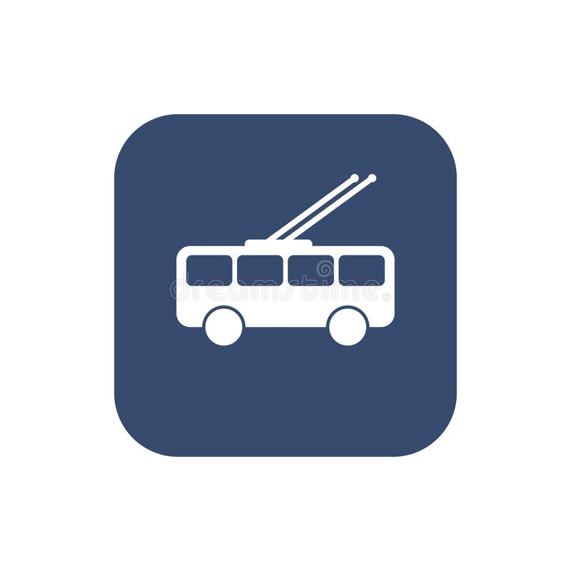 Vlakke de vector van het stadsvervoer trolleybus royalty-vrije illustratie