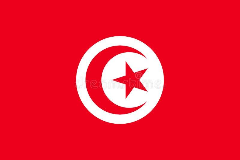 Vlakke de vlag van Tunesië stock illustratie