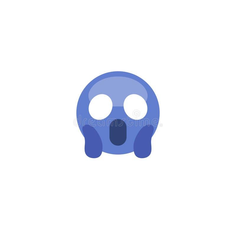 Vlakke de vreesschreeuw van stijl emoticon emoji stock illustratie