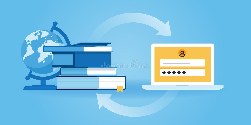 Vlakke de websitebanner van het lijnontwerp van e-leert stock illustratie
