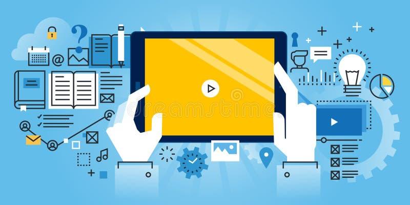 Vlakke de websitebanner van het lijnontwerp van online onderwijs vector illustratie