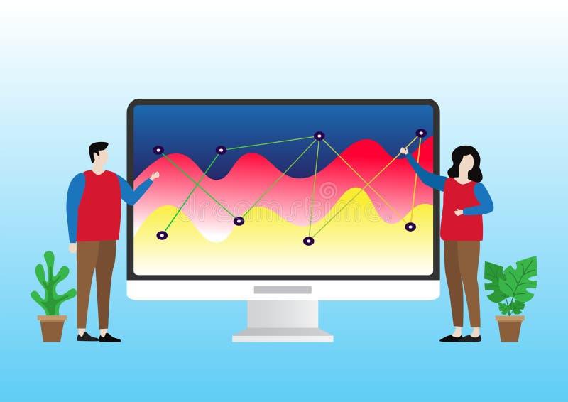 Vlakke desgn van mensen exlplain infocharts en infographics stock illustratie