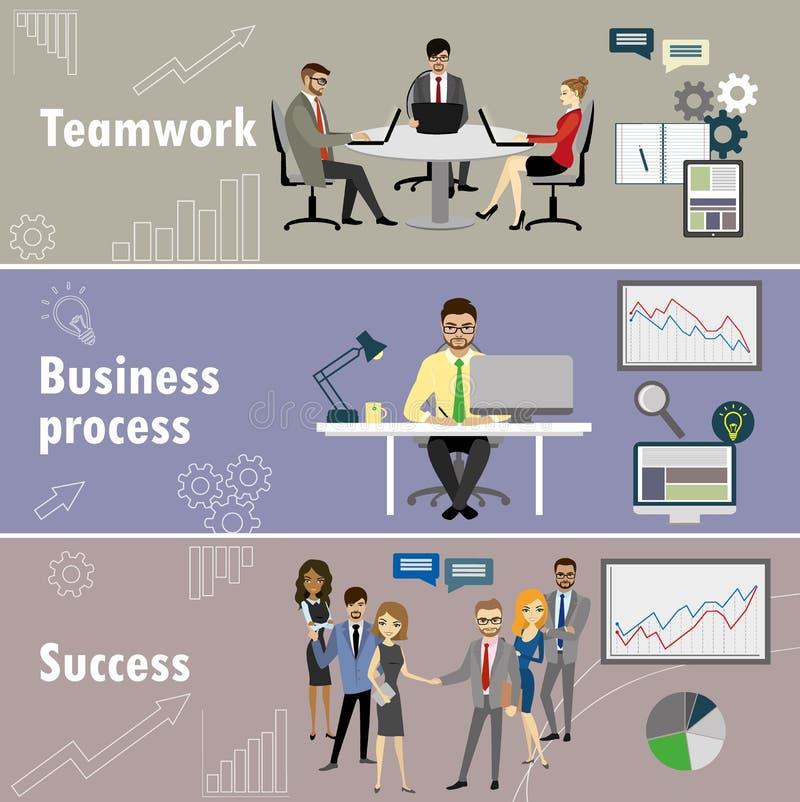 Vlakke die banner met groepswerk, bedrijfsproces en succes wordt geplaatst stock illustratie