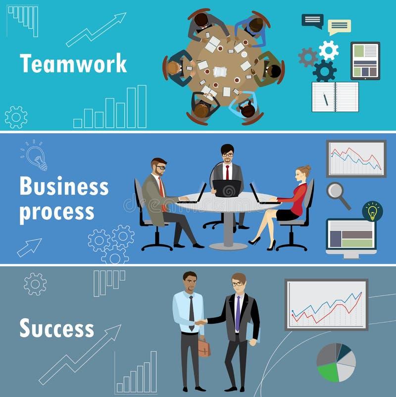 Vlakke die banner met groepswerk, bedrijfsproces en succes wordt geplaatst vector illustratie
