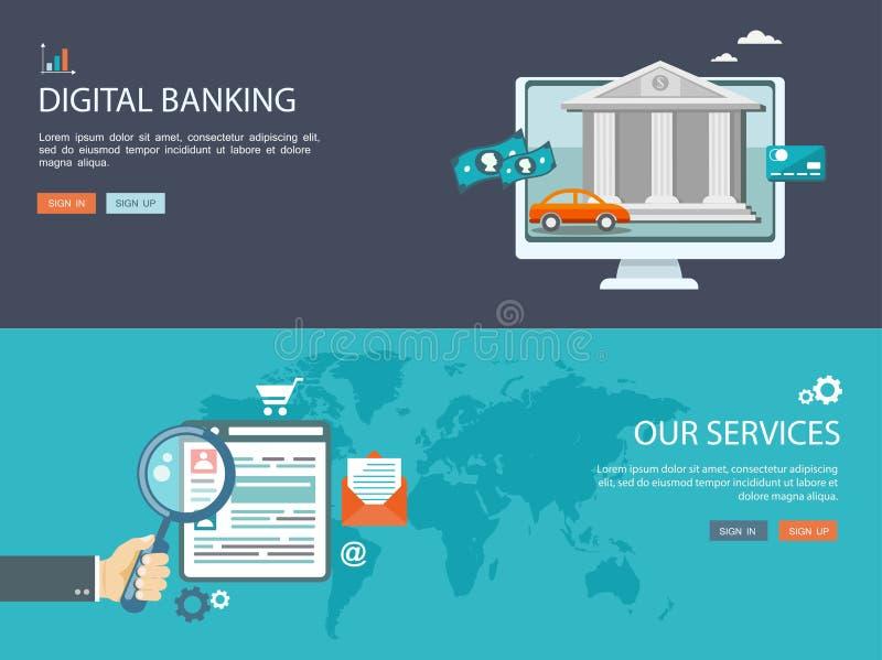 Vlakke die ontwerpillustratie met pictogrammen en tekst wordt geplaatst Digitaal bankwezen royalty-vrije illustratie