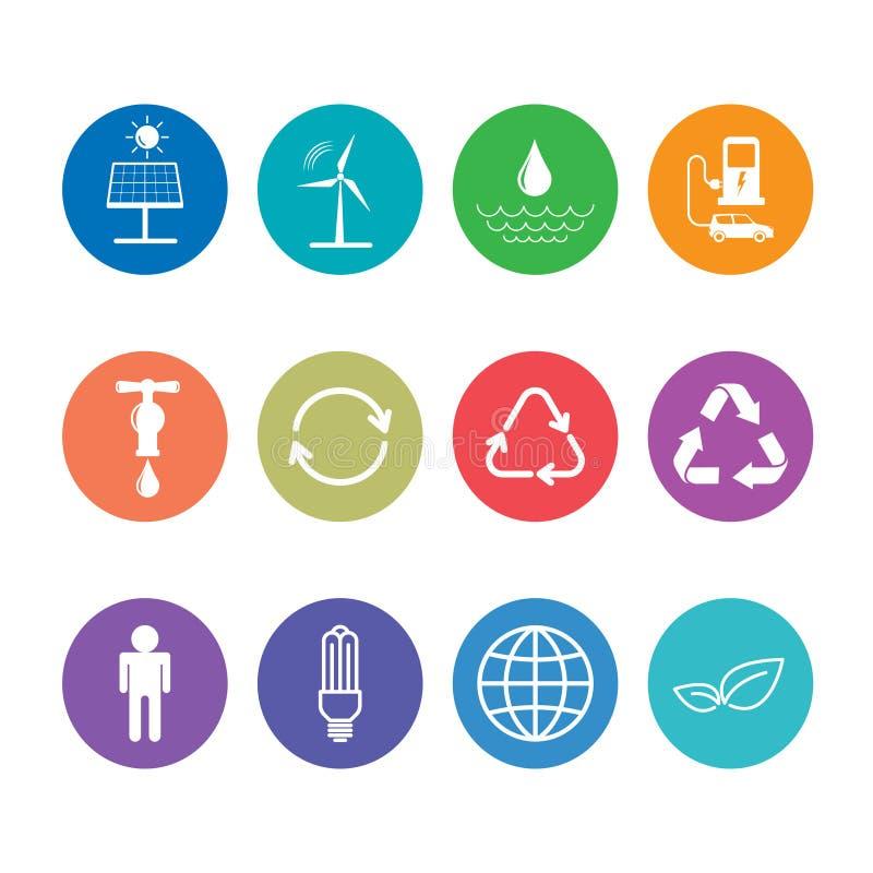 Vlakke die ontwerppictogrammen voor duurzaam energie en Ecologieconcept worden geplaatst stock illustratie