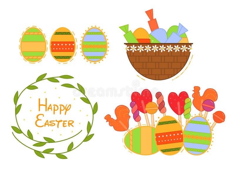 Vlakke die Pasen-illustratie voor Webontwerp wordt geplaatst De geïsoleerde reeks van het kleurensymbool Pasen-dagachtergrond Vla royalty-vrije stock fotografie