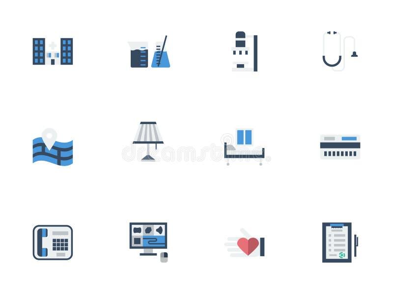 Vlakke die pictogrammen voor privé kliniek worden geplaatst vector illustratie