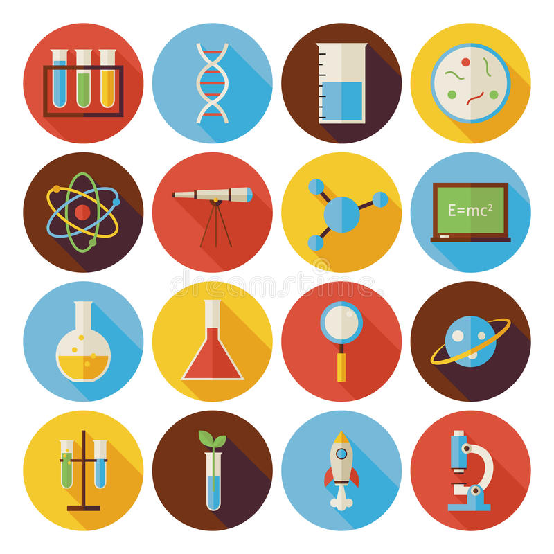 Vlakke die Wetenschap en Onderwijscirkelpictogrammen met lange Schaduw worden geplaatst vector illustratie