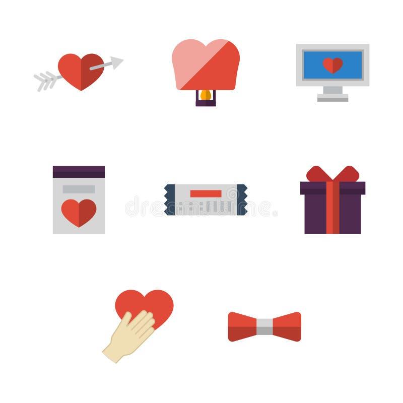 Vlakke eenvoudige liefde gekleurde geplaatste pictogrammen stock illustratie