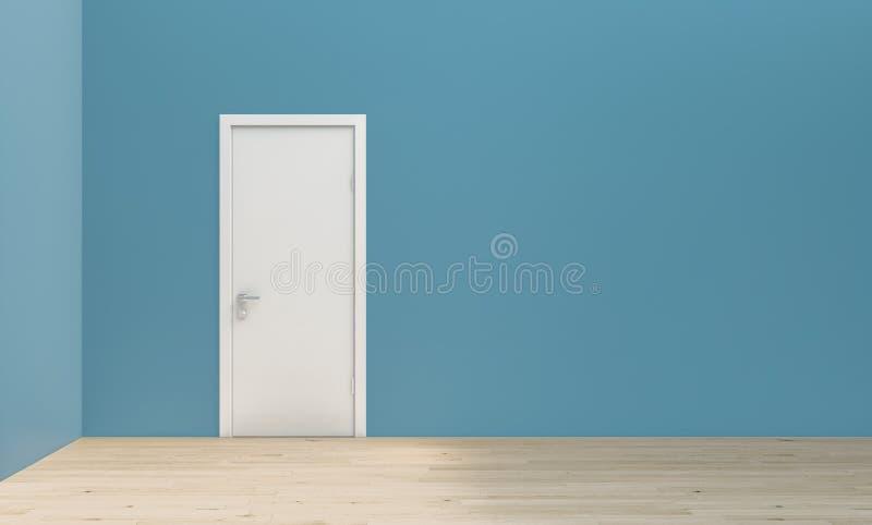 Vlakke eenvoudige turkooise blauwe muur bij rechte hoek met witte deur en houten bevloering, model, malplaatje, achtergrond royalty-vrije illustratie