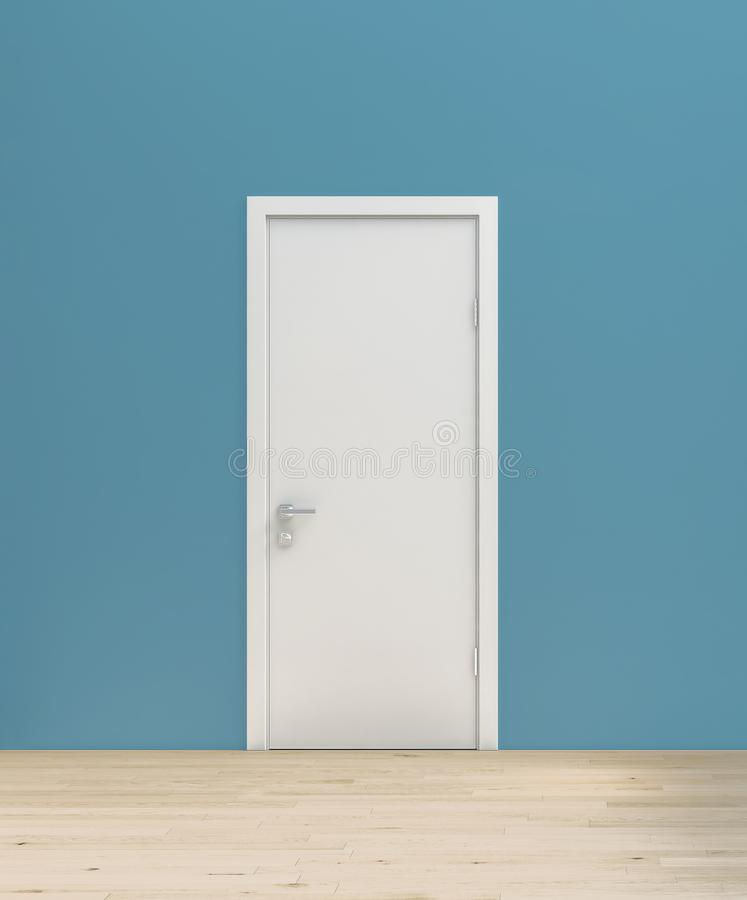 Vlakke eenvoudige turkooise blauwe muur bij rechte hoek met witte deur en houten bevloering, model, malplaatje, achtergrond stock illustratie