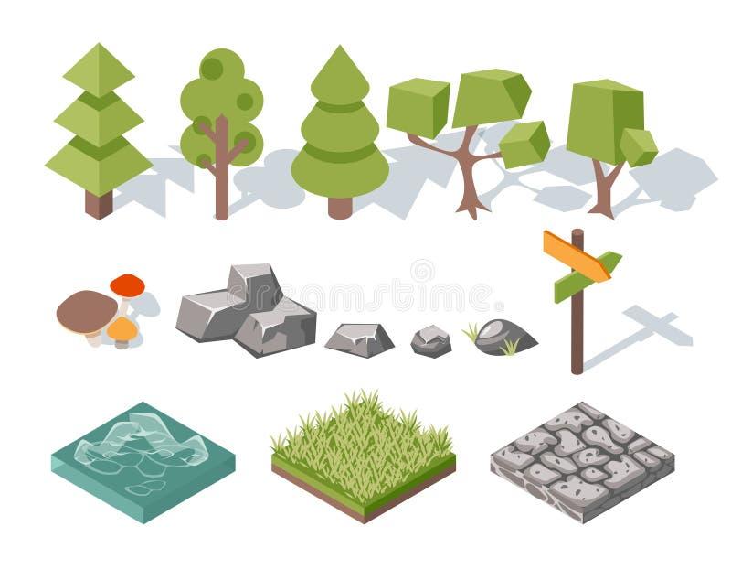 Vlakke elementen van aard Bomen, struiken, rotsen royalty-vrije illustratie