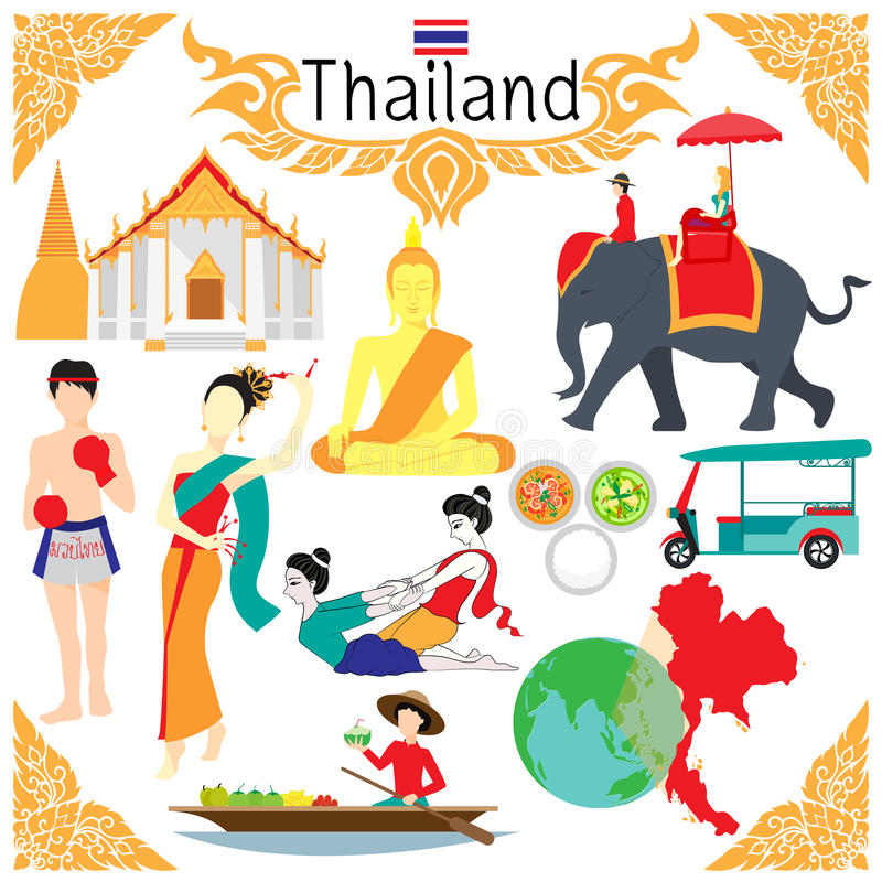 Vlakke elementen voor ontwerpen over Thailand met inbegrip van woord het THAISE IN DOZEN DOEN in Thai bij het in dozen doen van b royalty-vrije illustratie