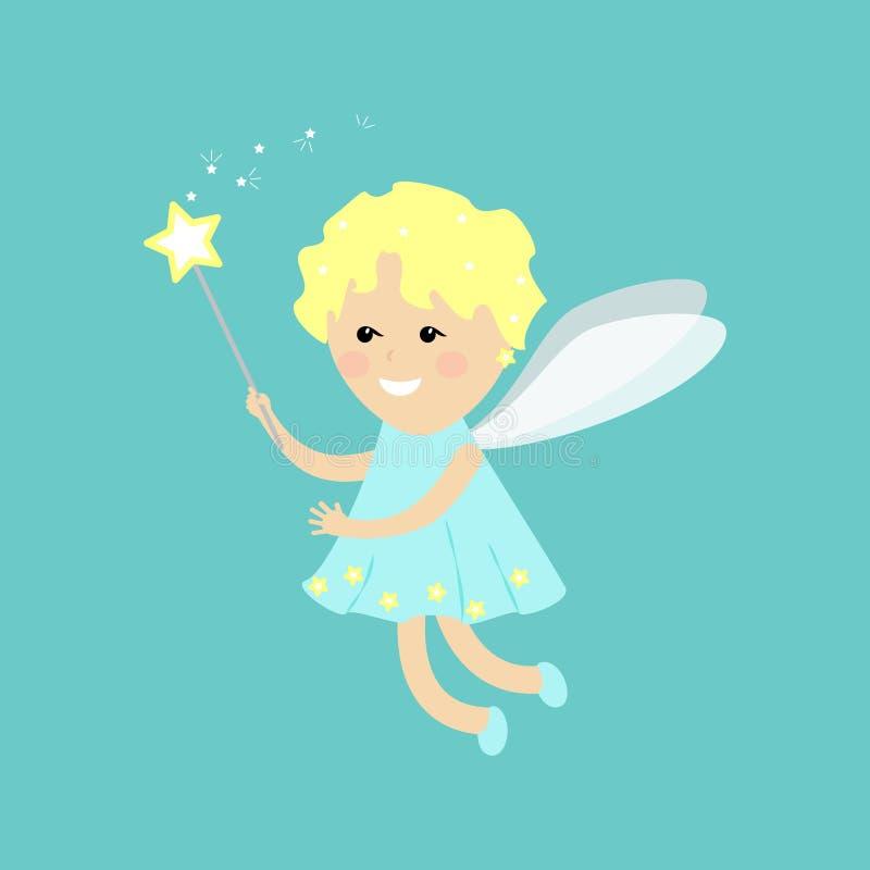 Vlakke engelenfee Weinig fee op een blauwe achtergrond royalty-vrije illustratie