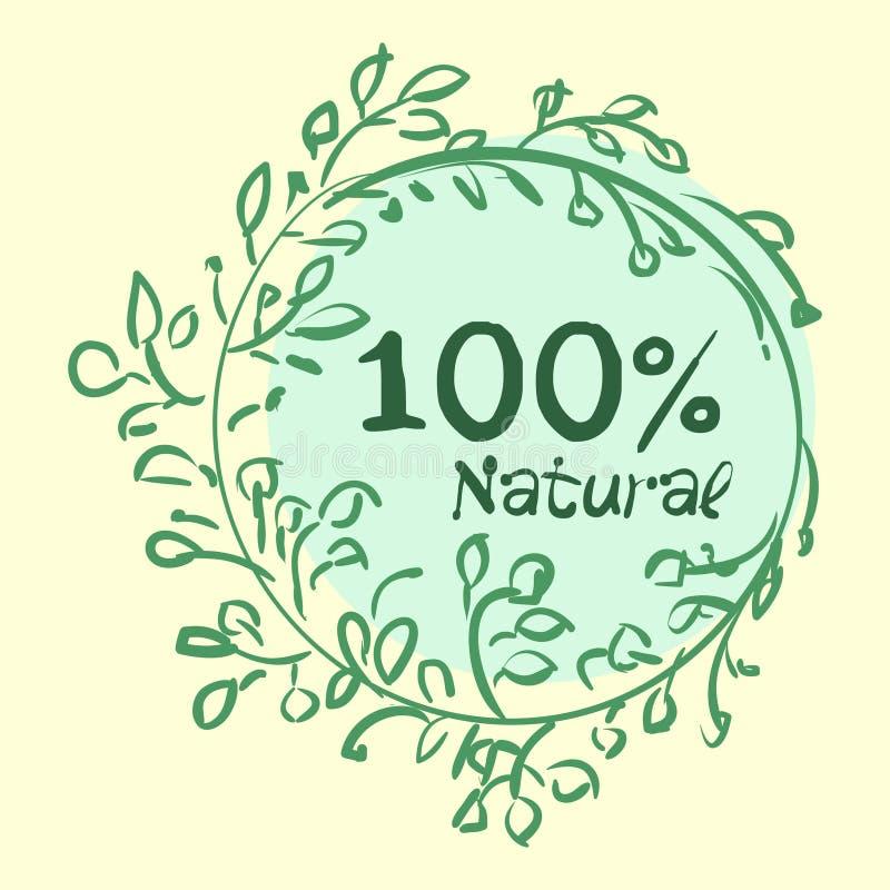 Vlakke etiketinzameling van biologisch product 100 en premie het kentekenelementen van de kwaliteitsnatuurvoeding Geïsoleerdj op  stock illustratie