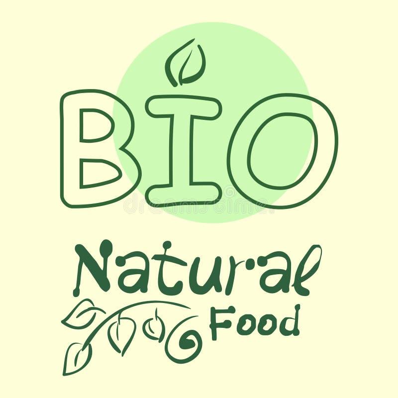 Vlakke etiketinzameling van biologisch product 100 en premie het kentekenelementen van de kwaliteitsnatuurvoeding Geïsoleerdj op  royalty-vrije illustratie