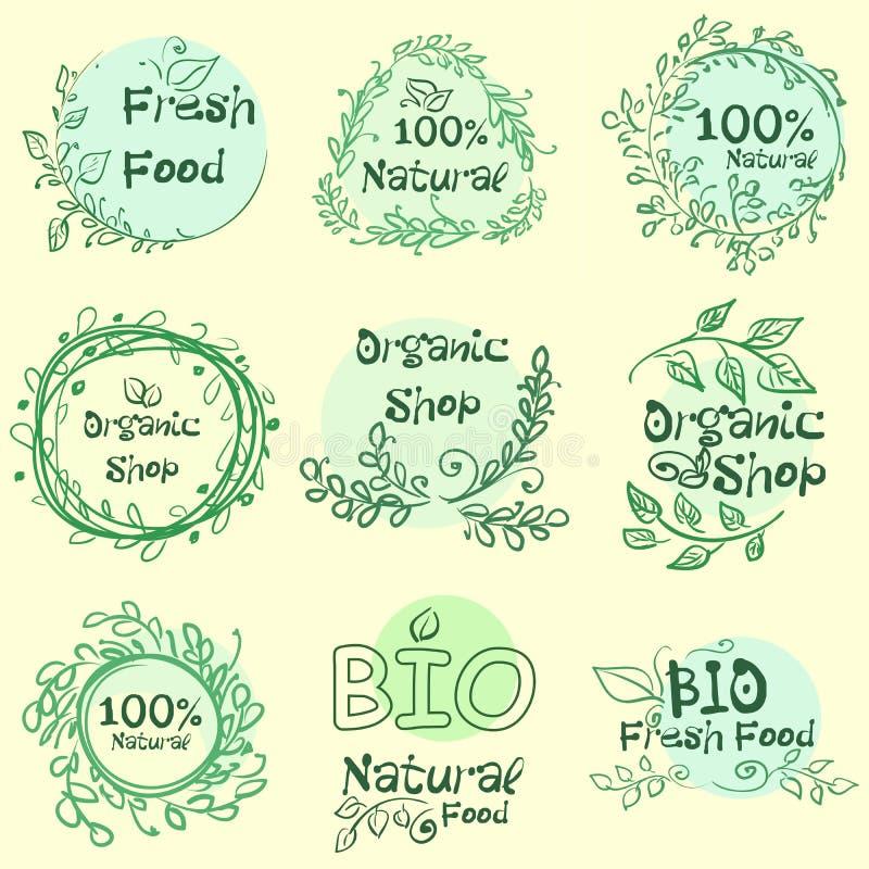 Vlakke etiketinzameling van biologisch product 100 en premie het kentekenelementen van de kwaliteitsnatuurvoeding Geïsoleerdj op  vector illustratie