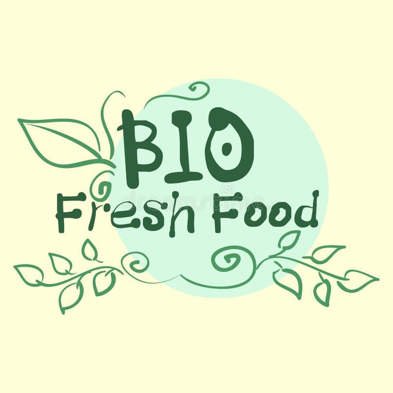 Vlakke etiketinzameling van biologisch product 100 en premie het kentekenelementen van de kwaliteitsnatuurvoeding Op witte achter stock illustratie