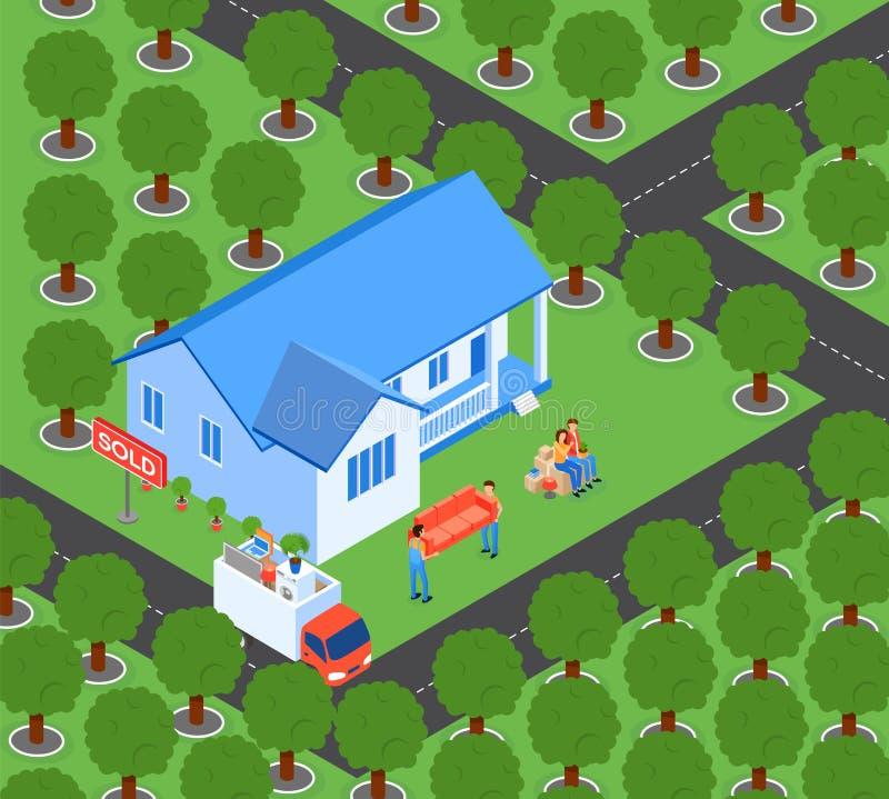 Vlakke Familiebewegingen aan Nieuwe Huis Vectorillustratie royalty-vrije illustratie